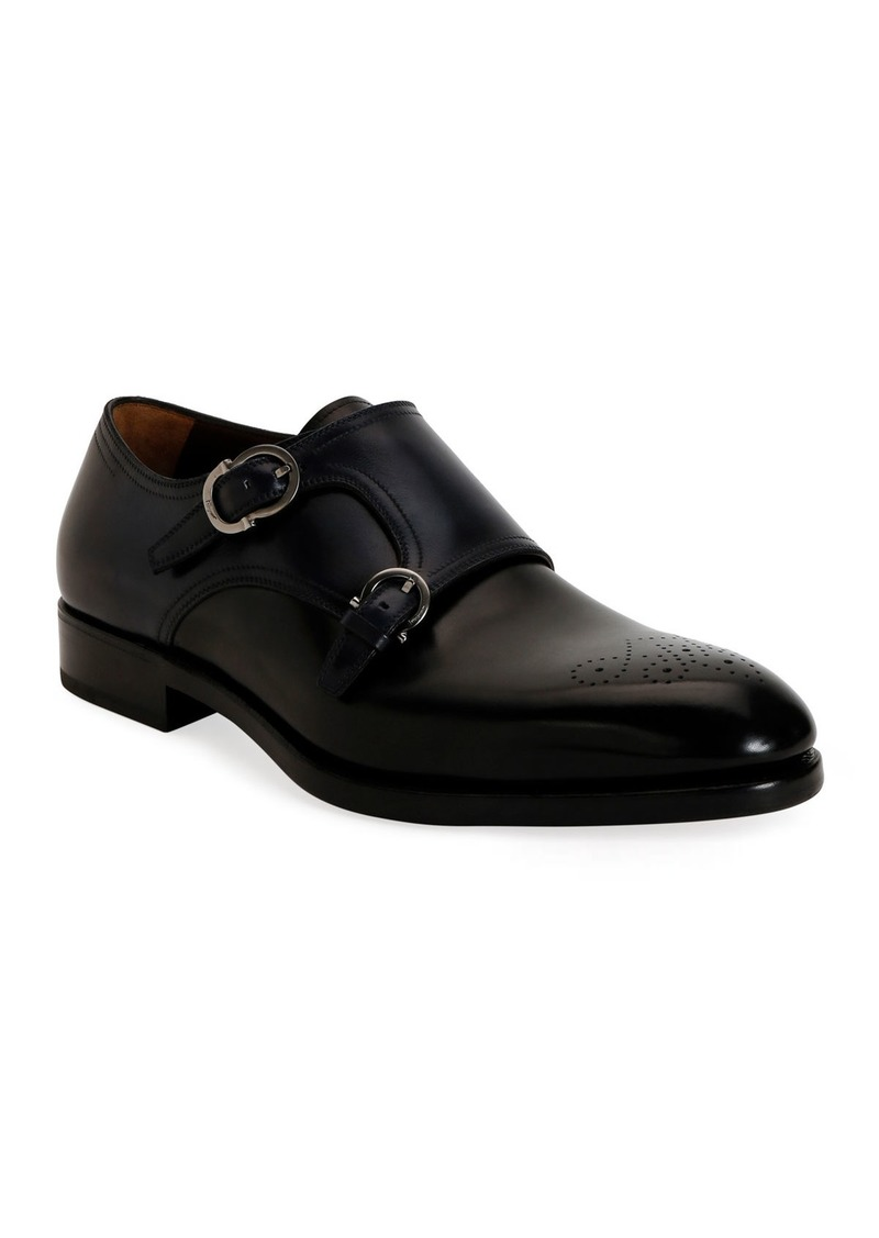 Ferragamo Men's Brighton Tramezza Double-Monk Leather Loafers