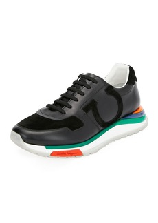 Ferragamo Men's Brooklyn Sneakers w/ Rainbow Sole