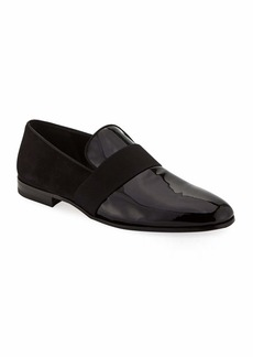 Ferragamo Men's Bryden Patent Leather & Suede Slip-On Dress Loafer Shoe