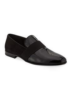 Ferragamo Men's Bryden Patent Leather & Suede Slip-On Dress Loafer Shoe