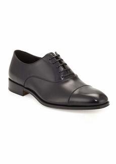 Ferragamo Men's Calfskin Cap-Toe Oxford  Black