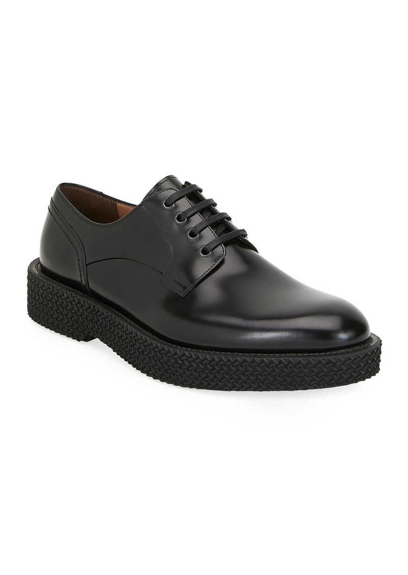 Ferragamo Men's Chunky Textured-Sole Leather Derby Shoes