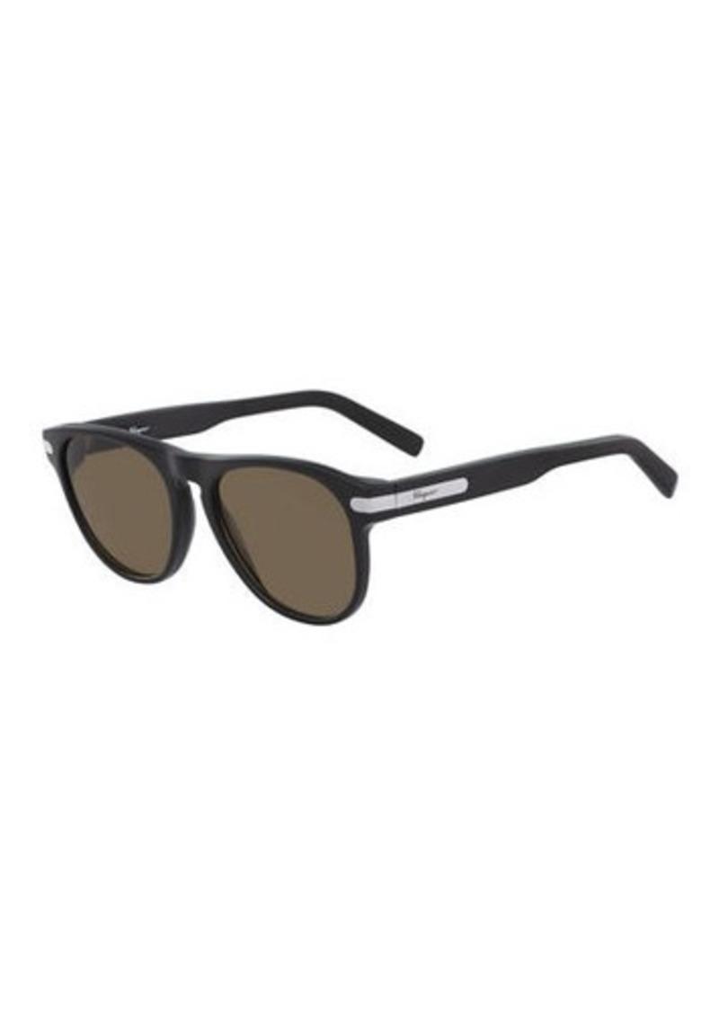 Ferragamo Men's Classic Thick-Frame Acetate Sunglasses