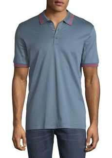 Ferragamo Men's Cotton Pique Polo Shirt w/ Gancini Detail
