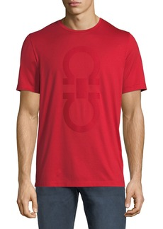 Ferragamo Men's Cotton T-Shirt w/ Thermal Gancini Logo
