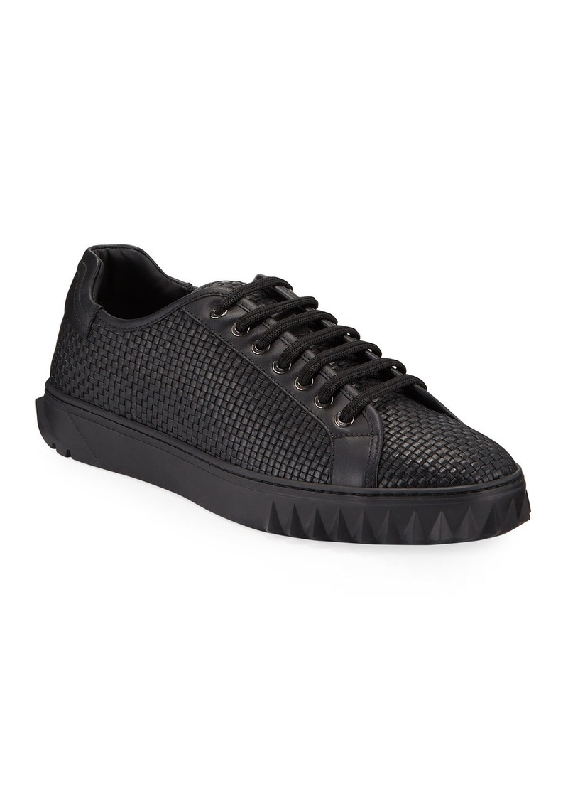 Ferragamo Men's Cube 17 Low-Top Woven Leather Sneakers