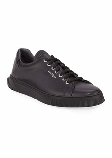 Ferragamo Men's Cube Low-Top Leather Sneakers