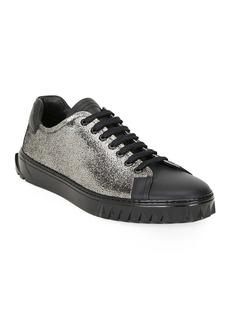Ferragamo Men's Cube Two-Tone Metallic Leather Sneakers
