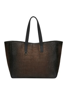 Ferragamo Men's Firenze Animal Embossed Leather Shopper Tote