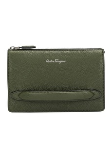 Ferragamo Men's Firenze Leather Pouch with Handle  Green