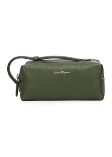 Ferragamo Men's Firenze Leather Toiletry Bag  Green