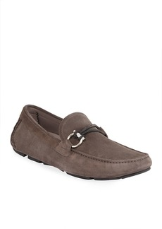 Ferragamo Men's Front 4 Suede Gancio Drivers with Braided Keeper