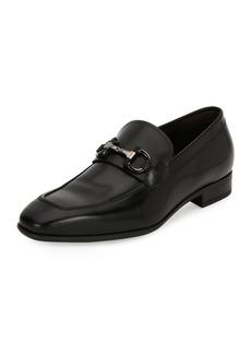 Ferragamo Men's Gancini-Bit Leather Loafer  Black