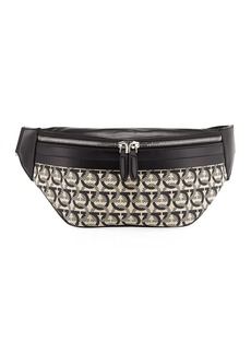 Ferragamo Men's Gancini Jacquard Canvas Belt Bag/Fanny Pack
