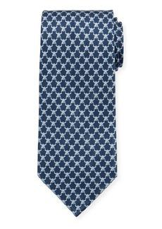 Ferragamo Men's Indro Silk Bull-Print Tie  Blue