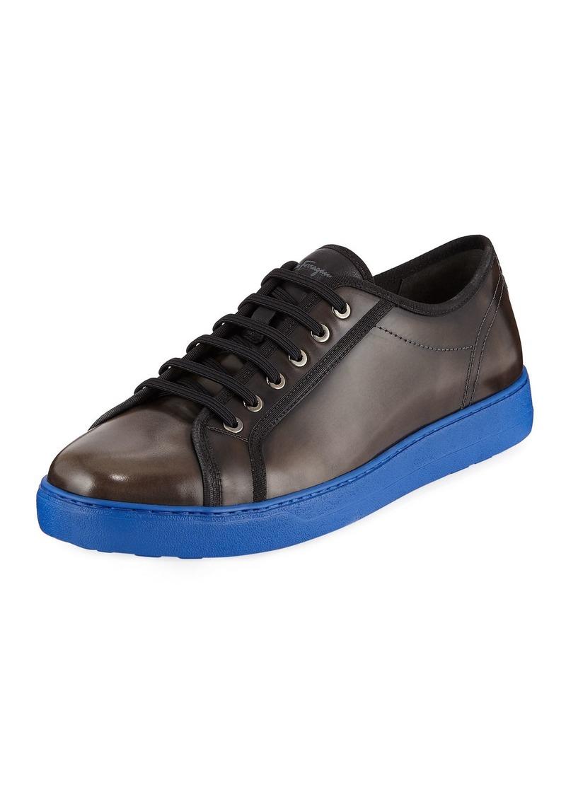 Ferragamo Men's Lace-Up Sneakers with Contrast Heel