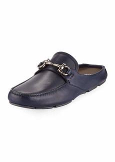 Ferragamo Men's Leather Gancini-Bit Mule Slide