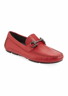 Ferragamo Men's Leather Gancini Driver  Red
