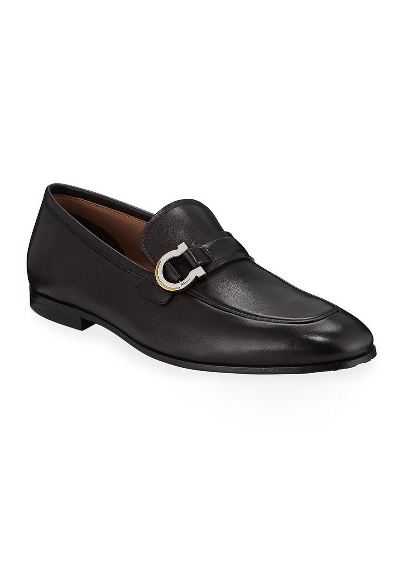 Ferragamo Men's Leather Gancio Bit Loafers
