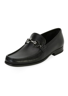 Ferragamo Men's Leather Loafer with Reversible Gancini Ornament