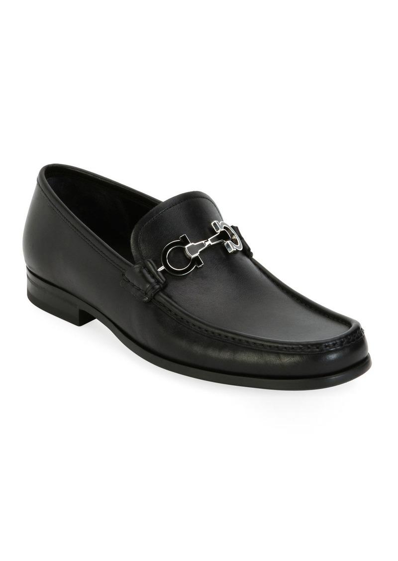 Ferragamo Men's Leather Loafer with Reversible Gancini Ornament