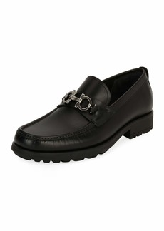 Ferragamo Men's Leather Lug-Sole Loafer  Black