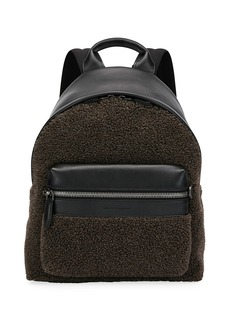 Ferragamo Men's Leather-Trim Sherpa Backpack