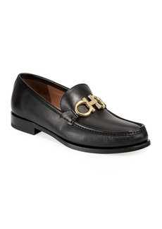 Ferragamo Men's Leather Twisting Gancini Loafers