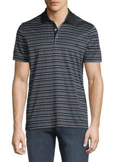 Ferragamo Men's Linear Abstract Cotton Polo Shirt