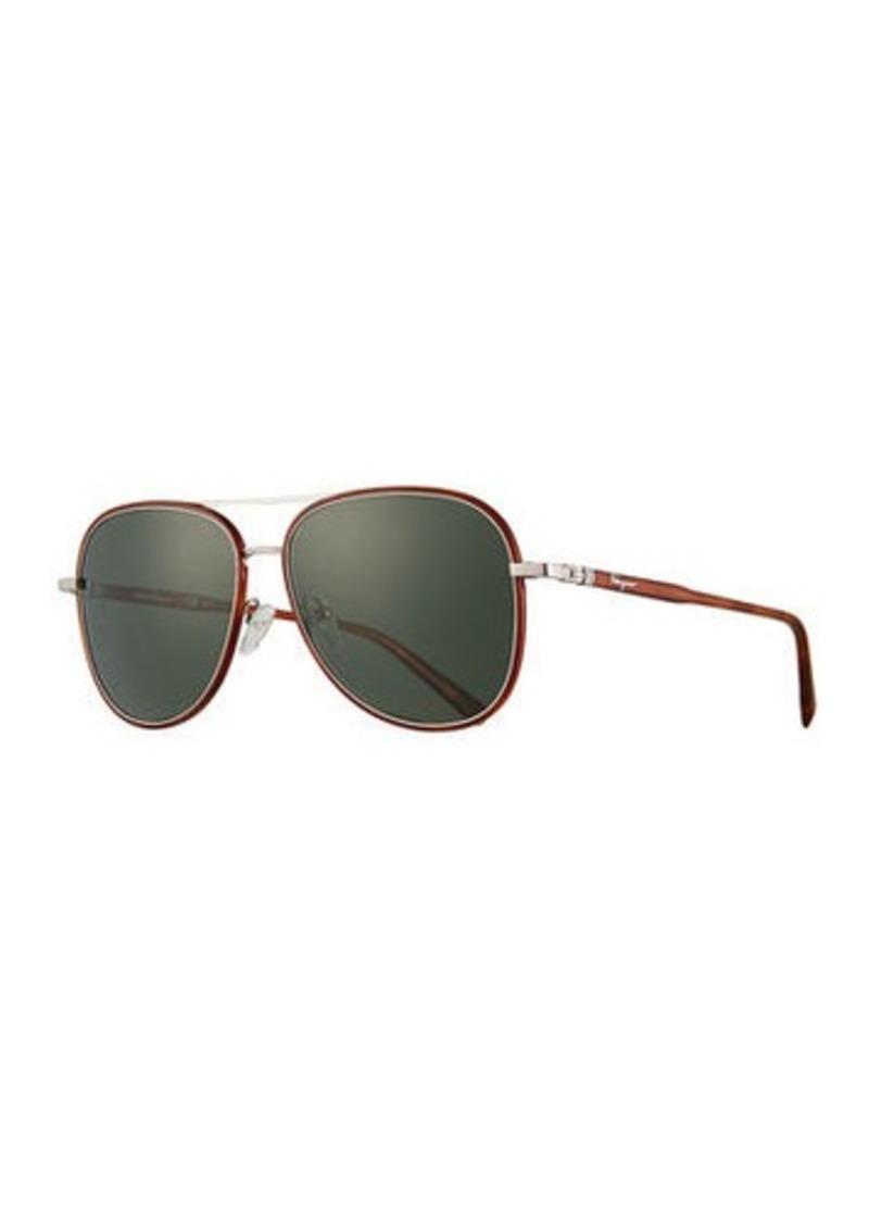 Ferragamo Men's Metal Double-Gancio Aviator Sunglasses