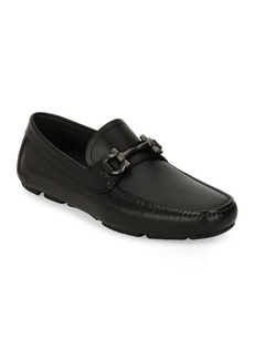 Ferragamo Men's Pebbled Leather Gancini Driver  Black