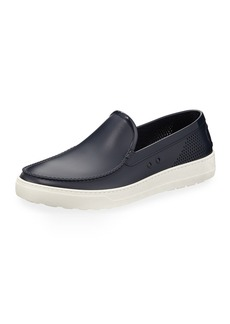 Ferragamo Men's Perforated Grommet Boat Shoe