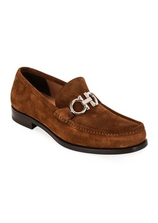 Ferragamo Men's Rolo Suede Gancini-Bit Loafers