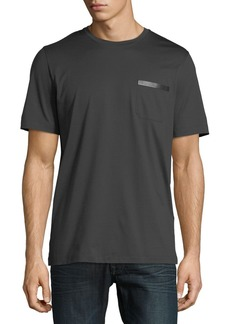 Ferragamo Men's Sateen-Finish Pocket T-Shirt w/ Leather Logo Plaque