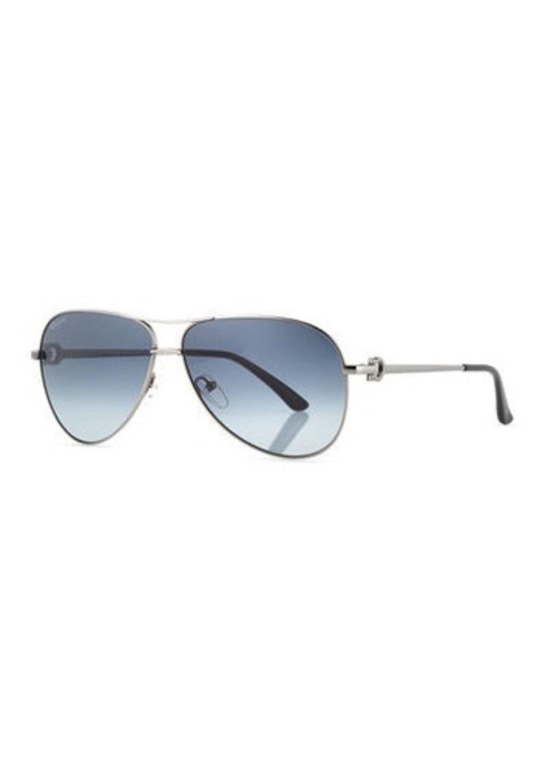 Ferragamo Men's Signature Metal Aviator Sunglasses