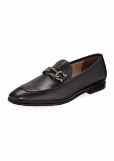 Ferragamo Men's Smooth Leather Loafers with Chain Bit