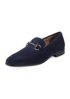 Ferragamo Men's Suede Gancini Loafers