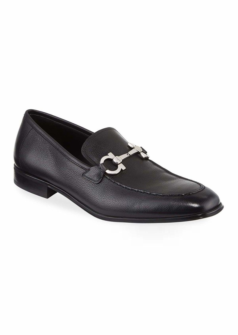 Ferragamo Men's Textured Calfskin Gancini Loafer  Black