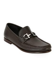 Ferragamo Men's Textured Leather Gancini Loafer