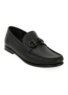 Ferragamo Men's Textured Leather Gancini Moccasin Loafer