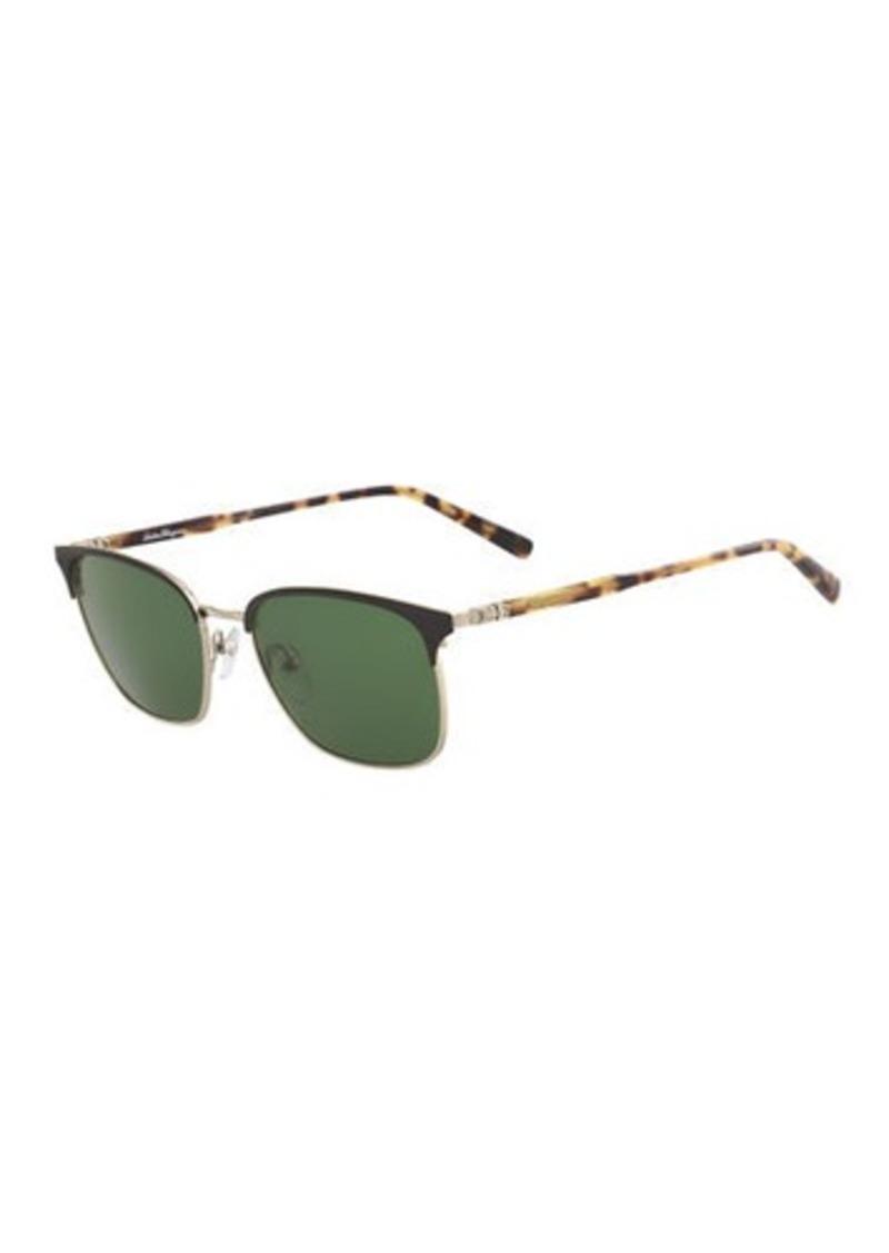 Ferragamo Men's Timeless Half-Rim Sunglasses