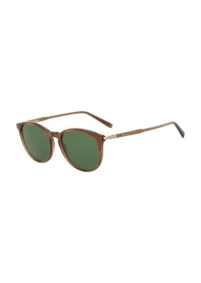 Ferragamo Men's Timeless Thin Round Acetate Pantos Sunglasses