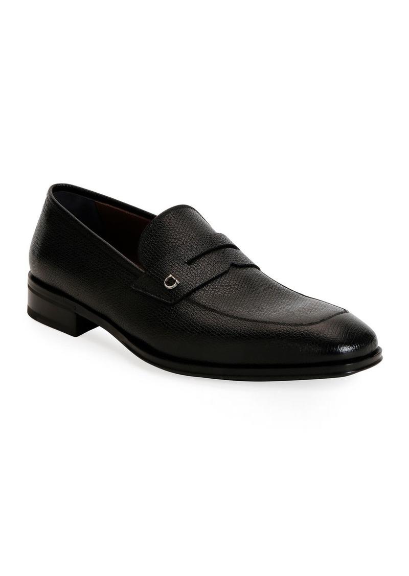 Ferragamo Men's Tito Textured Leather Penny Loafers