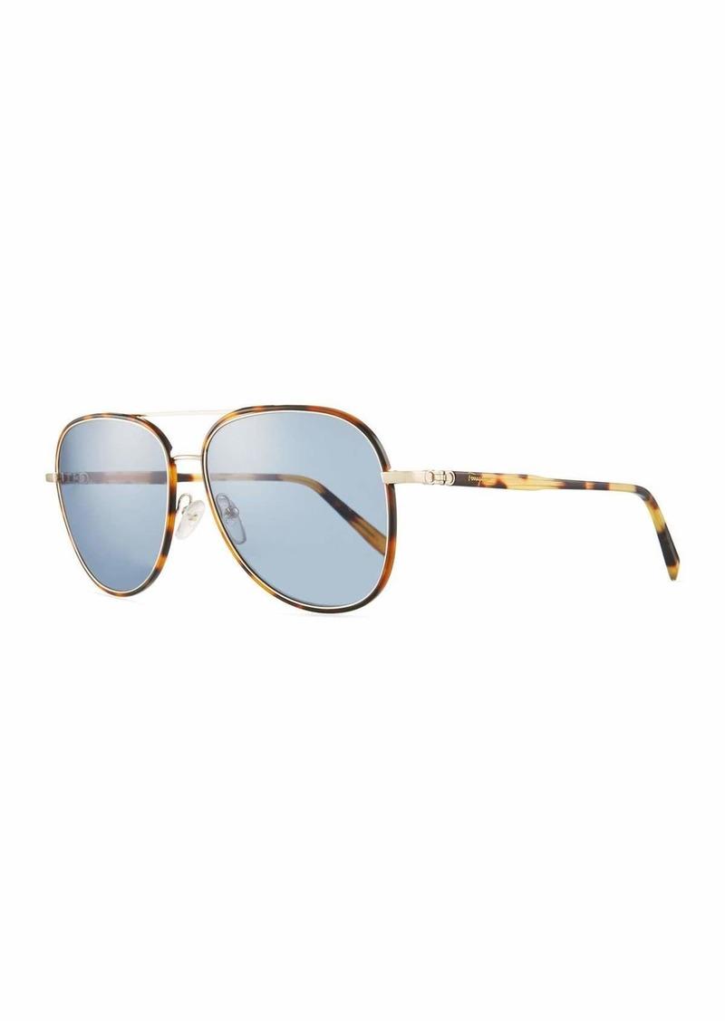 Ferragamo Men's Tortoiseshell Aviator Sunglasses