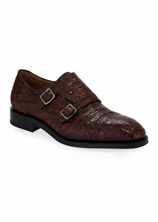 Ferragamo Men's Tramezza Crocodile Double-Monk Shoe