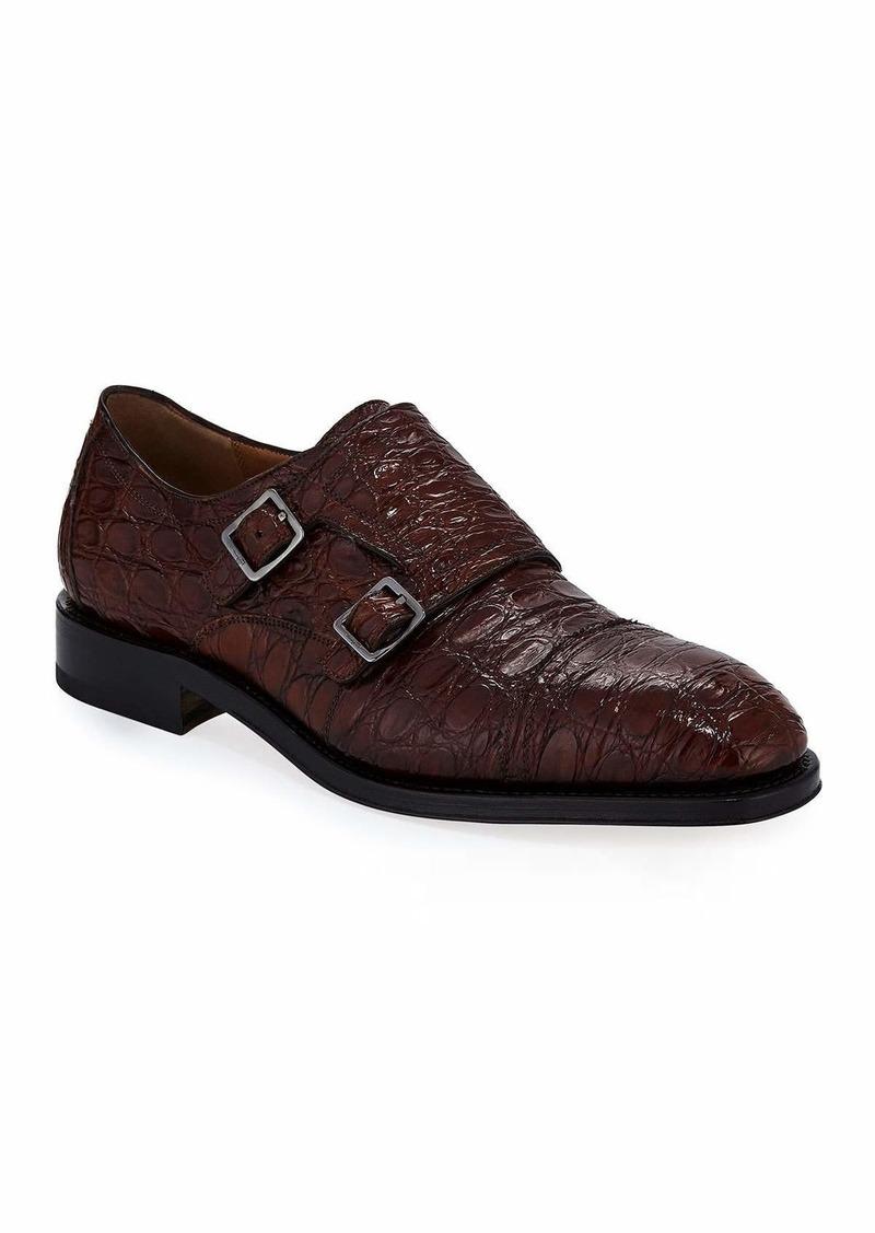 Ferragamo Men's Tramezza Crocodile Double-Monk Shoe