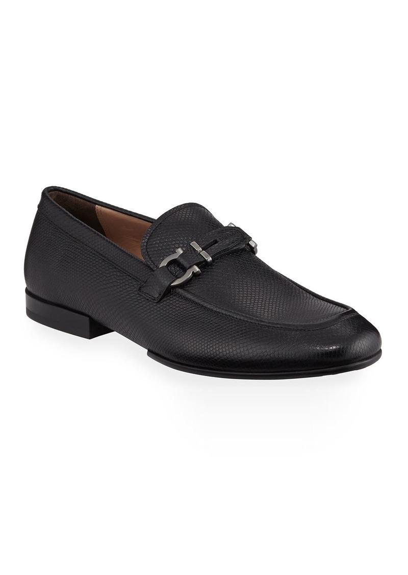 Ferragamo Men's Tucker Gancini Pebbled Leather Loafers