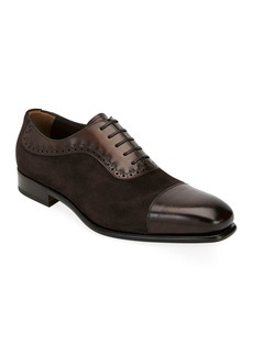 Ferragamo Men's Two-Tone Derby Dress Shoes