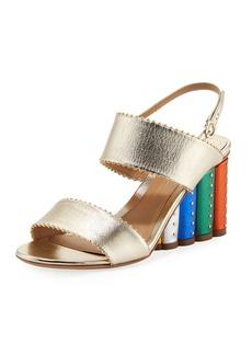 Ferragamo Metallic City Sandal with Rainbow Heel