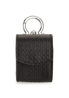 Ferragamo Mini Gancini Embossed Leather Earbud Holder